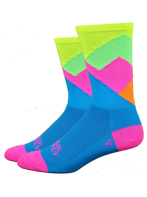 "DeFeet Aireator 6"" Socks Alpine (Process Blue w/Hi-Vis Yellow Top)"